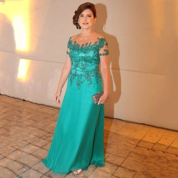 Elegant Formal Dresses Beaded Appliques Pageant Gowns A-Line Floor Length Party Dress Sheer Neck robe de soiree longue 2018