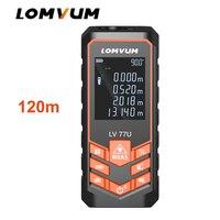 Lomvum recarregável handheld trena laser rangefinder 77u 120 m digital medidor de distância a laser ferramentas de medição de fita elétrica