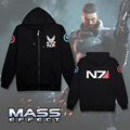 RPG Game Mass Effect 3 N7 thin Coat outwear hoodies men boys clothes cosplay costume mens jackets and coats black sweatshirts