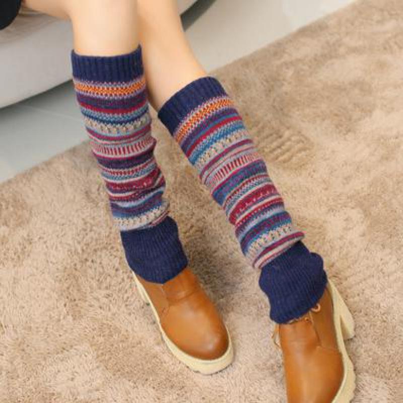 Newly Design 1 Pair Women Winter Warm Leg Warmers Wool Knitting High Knee Socks Boot Cuffs Fashion Girls Gift Gaiters