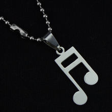 1pcs Mixed Stainless Steel Note Pendant Necklace Titanium Music Slow Free Bead Chain