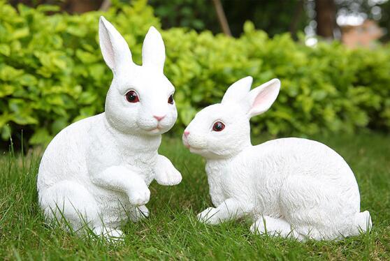 US $47 41 5% OFF|Aliexpress com : Buy 2pcs/lot,Resin simulation rabbit  ornaments outdoor lawn garden decoration crafts cute little animal  gardening