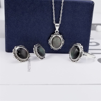 Natural Black Shell/Onyx Stone 925 Sterling Silver Vintage Jewelry Set Mother Pearl S925 Pure Silver Necklace Stud Earrings Ring