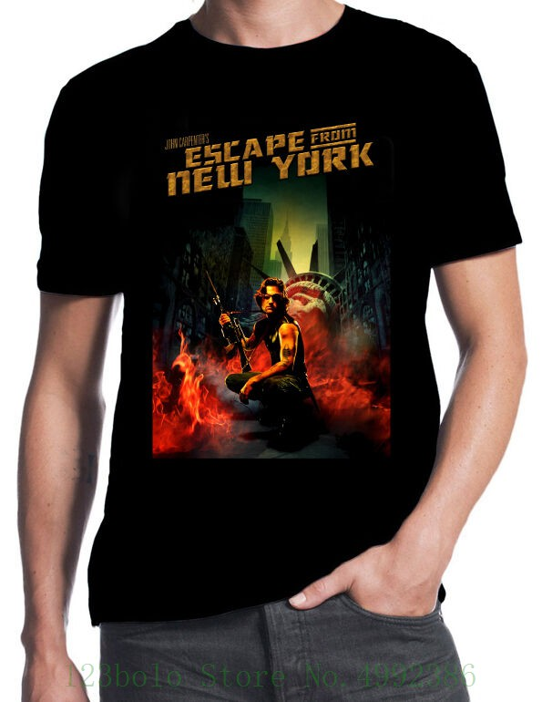 Escape From New York Snake Plissken Classic 80's Sci Fi Action Movie T Shirt Quality Print New Summer Style Cotton image