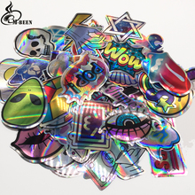 60pcs/lot laser Sticker Funny Cute Style ET Waterproof Snowboard Luggage Laptop Motorcycle suitcase skateboard Graffi toys decal