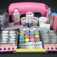 Pro Starter Kit Nail Salons Kit Nail Art Acrylic Powder French Tips 9W UV Lamp Glitter Powder UV Gel Manicure Set