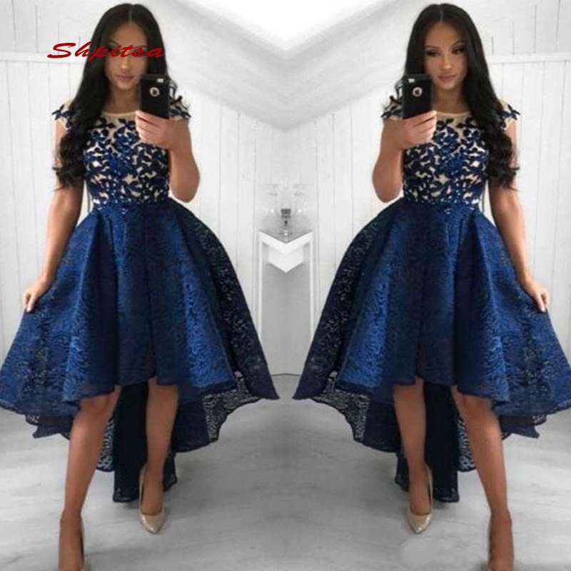 Lace Short Front Long Back   Cocktail     Dresses   Party High Low Graduation Women Prom Plus Size Mini Semi Homecoming Formal   Dresses