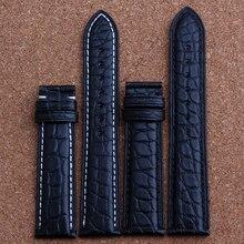 Новых людей из натуральной кожи ремешок группы браслеты черный кожи аллигатора 18 мм 19 мм 20 мм 21 мм 22 мм 24 мм без пряжки