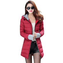 2017 new women coat thick hooded women winter jacket long jaqueta de couro zipper solid parkas slim waist coat ladies jackets