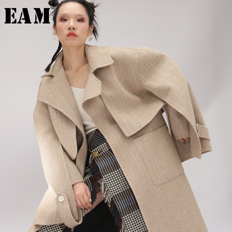 [EAM] 2019 New Spring Lapel Long Sleeve Gray Striped Vent Large Size Short Woolen Coat Women Parkas Fashion Tide JK096