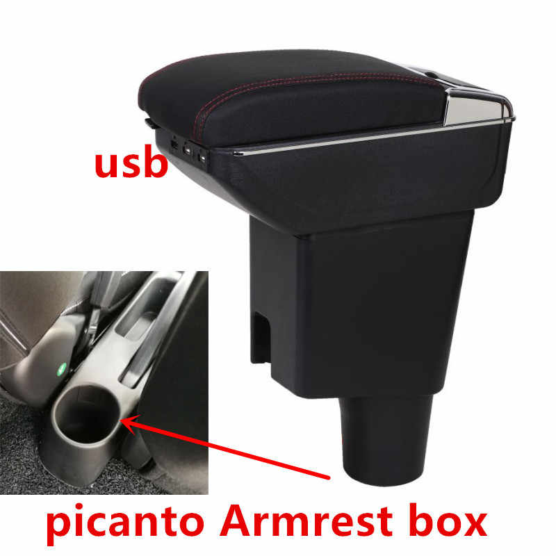 For KIA morning picanto JA Armrest box central Store content box with cup holder ashtray with USB interface