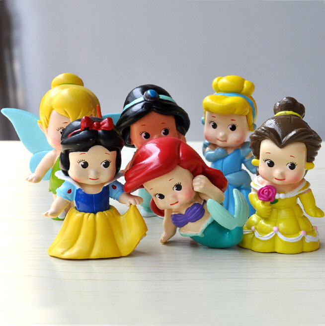 6pcs/lot 6cm Kawaii Q Vesion Princess Snow White Bella Cinderella Mermaid PVC Doll Action Figure Toys