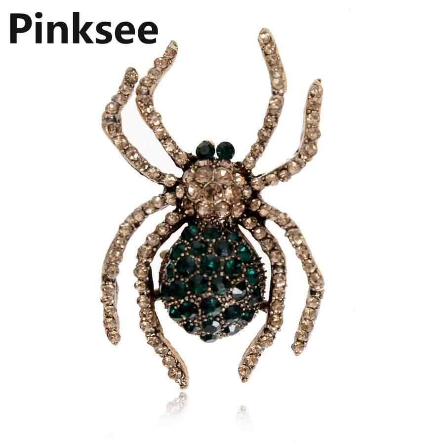 Retro Insect Aranha de Cristal Broche Pin Para Mulheres Homens bijuterias Pavão Esmalte Sapo Abelha Broche Hijab Pinos Acessórios