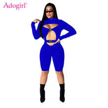 Adogirl Solid Hollow Out Buckle Cycling Jumpsuit Zipper Mock Neck Long Sleeve Women Sexy Romper Night Club Playsuits Tracksuit mock neck form fitting jumpsuit