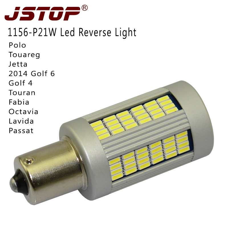 JSTOP VW Super bright car reverse lights canbus 1156 12-24V <font><b>P21W</b></font> 1000LM light BA15S auto <font><b>No</b></font> <font><b>error</b></font> 6000K white <font><b>led</b></font> reverse bulbs image