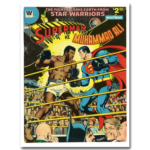 Superman vs Muhammad Ali Art Silk Poster Fabric Print 12×16 24×32 inches 1978 Vintage Superheroes Wall Picture Room Decor