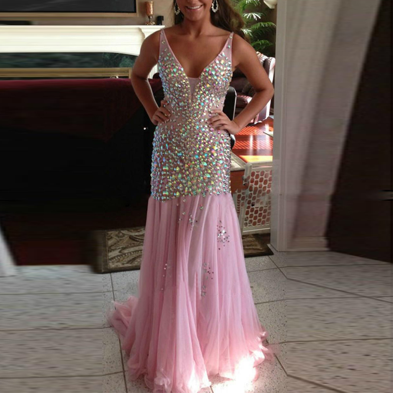 Fashionable Beading Crystal Mermaid Prom Gown V-Neck Tulle Floor Length Dress For Wedding Party Custom Made