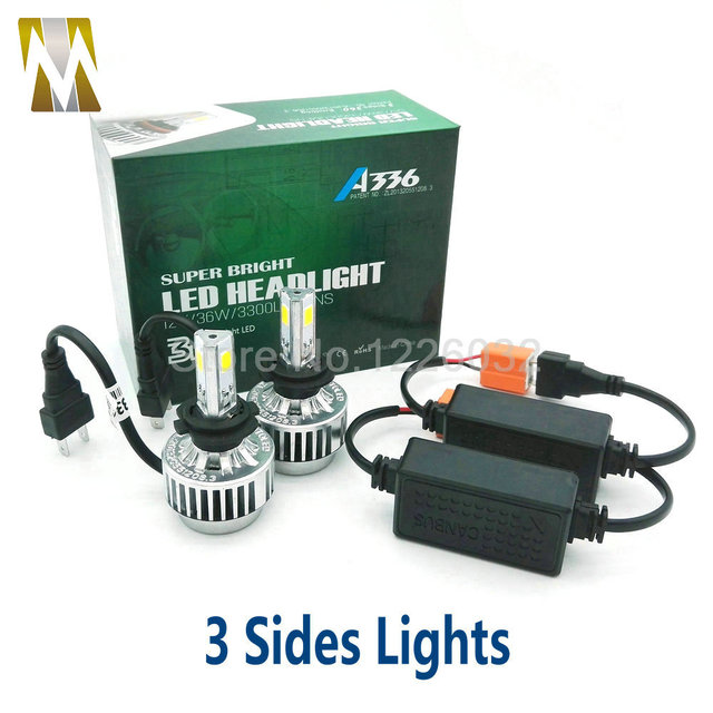 3 Sides Car Headlamps H7 Canbus LED Headlights with canbus 36W 12V Car COB Chips Head Lamps Source 6000k 3000k Error Free H8 H11
