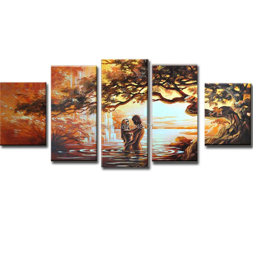 Hand Painted Modern Abstract 5 pieces-Combination Landscape Canvas Oil Painting Lovers Wall PicturesLiving Room Home Wall DecorHand Painted Modern Abstract 5 pieces-Combination Landscape Canvas Oil Painting Lovers Wall PicturesLiving Room Home Wall Decor