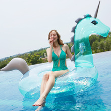 240CM 94 Inch Giant Inflatable Unicorn Pool Float Blue Ride-On Swimming Ring Adults Children Baby Water Holiday Party Toys 180 75 78cm giant inflatable unicorn pool float 2017 newst ride on swimming ring adults children water holiday party toy piscina