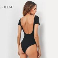 COLROVIE U Neck Backless Bodysuit Sexy Slim Women Black Basic Summer Bodysuits 2017 Fashion Short Sleeve