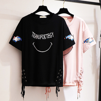 Women's 3XL 6XL T Shirt Short Sleeve Loose Maxi T Shirt Black Bandage Smiley Face Womens Tops Women Clothes 2019 Womens Clothing