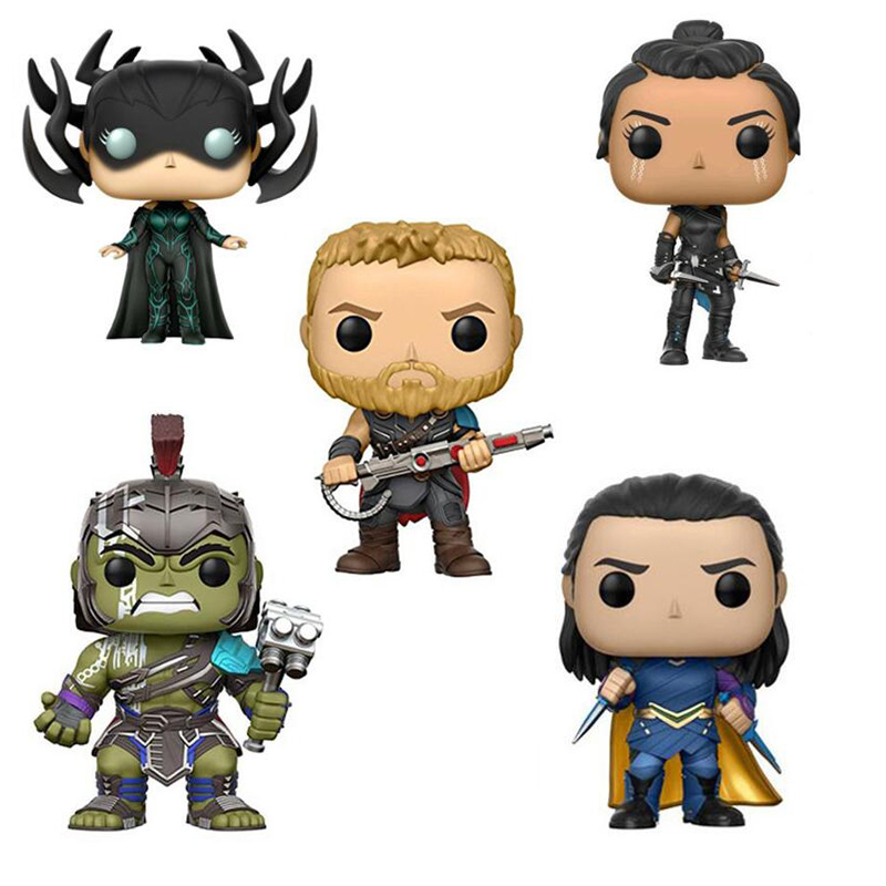 Marvel Thor Ragnarok Hulk Hela Loki Valkyrie Character 10cm Vinyl Dolls Action Figure Toys with Bobble Head