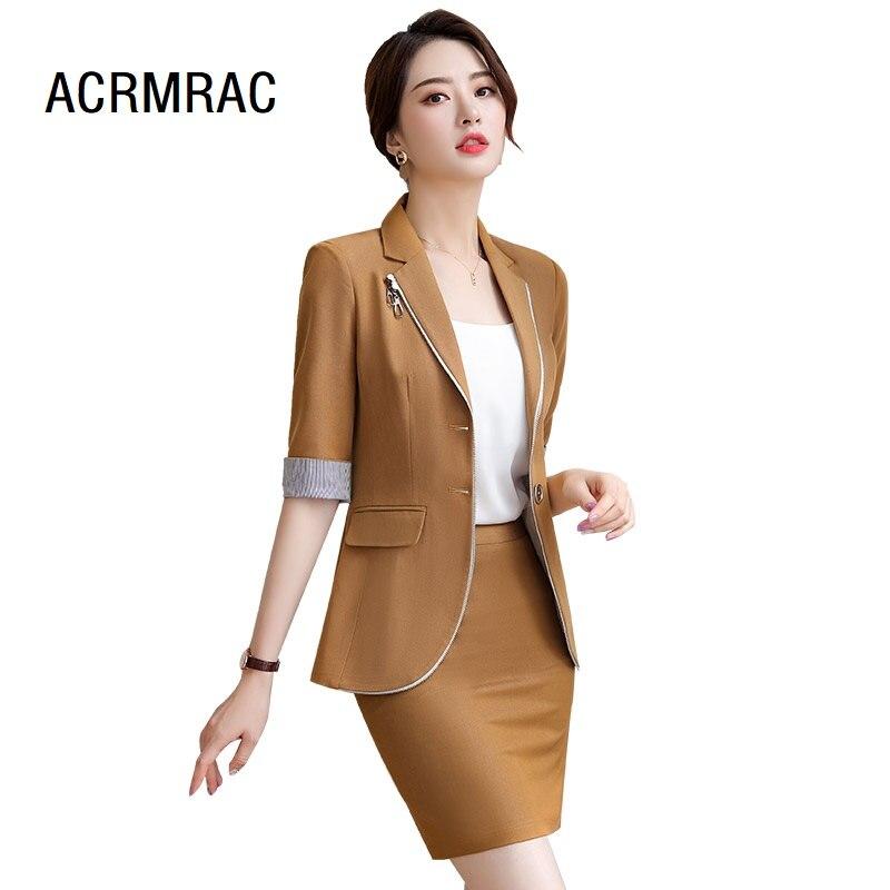 Women Suits Slim Summer Half Sleeve Jacket Ankle-Length Pants 2-piece Set Women Pants Suits Woman Set Suits 837