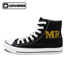 Design Leopard Pattern MR MRS Hand Painted Shoes Men Converse All Star Sneakers Women Brand Canvas Skateboarding Shoes