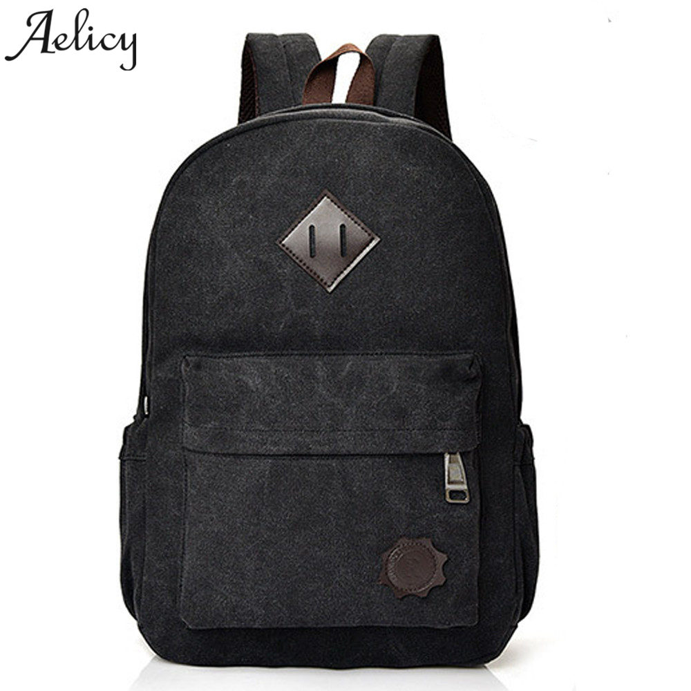 Aelicy Vintage Men Women Canvas Backpacks School Bags for Teenagers Large Capacity Zipper Korean Fashion Backpack Schoolbag 2018 kazi building blocks police station model building blocks compatible legoe city blocks diy bricks educational toys for children