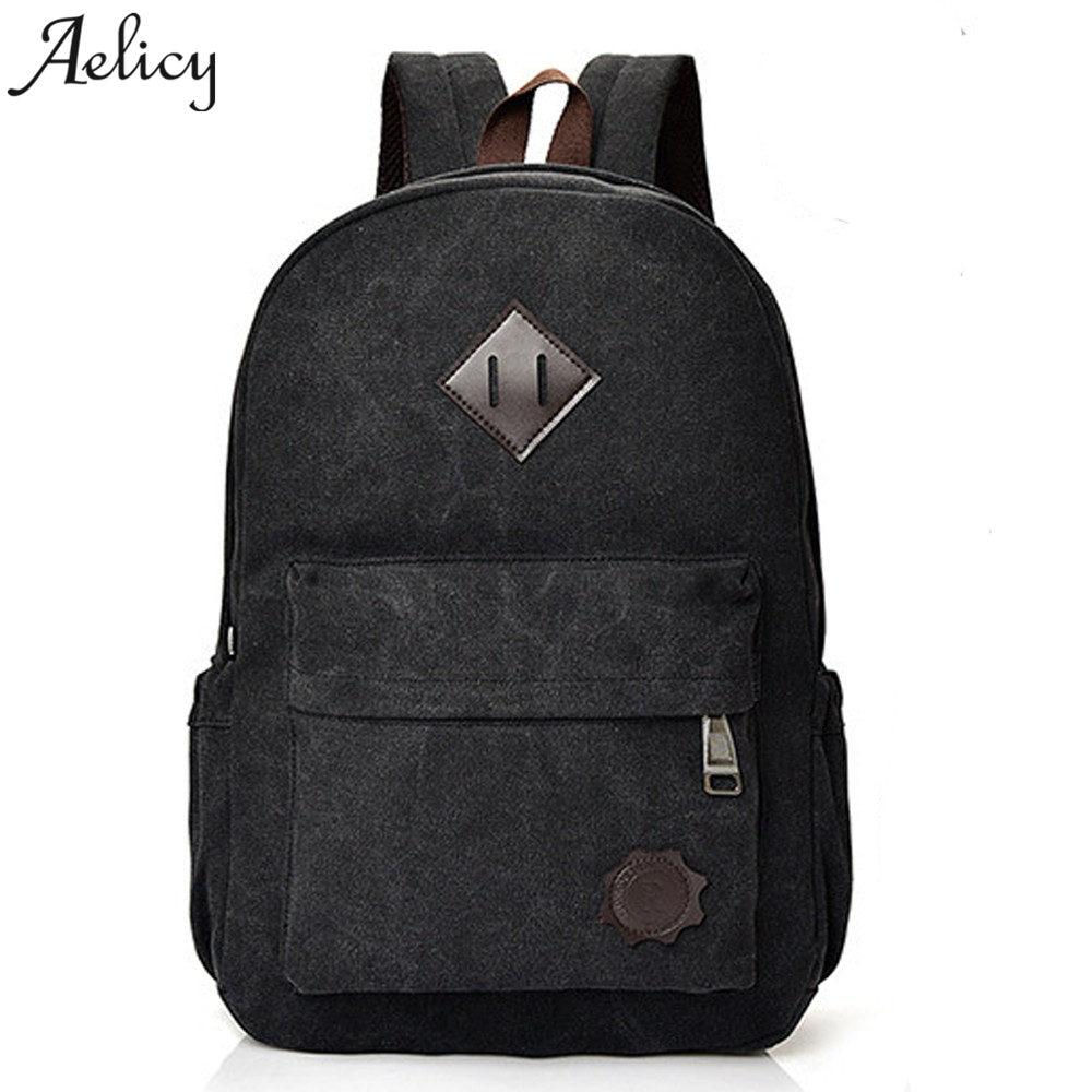 Vintage Men Canvas Backpacks School Bags For Teenagers Large Capacity Zipper Korean Backpack Schoolbag 2018