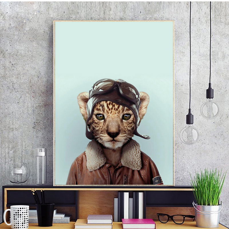 Pilot Cat Portrait Canvas Art Print Poster Wall Art Picture for Living Room Decoration Cartoon Animal Home Decor Painting in Painting Calligraphy from Home Garden