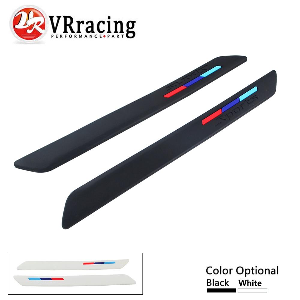 VR RACING - Car Bumper Strip Protector Guard Corner Crash Trim Protection Door Guards Lip Deflector 2pcs Black White VR-FBL01