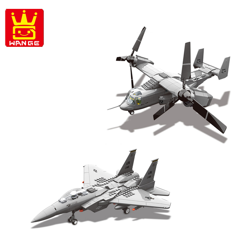 F15 fighter and MV 22 helicopter Military Helicopter Series Building Blocks WANGE Blocks Kids Toys Gifts