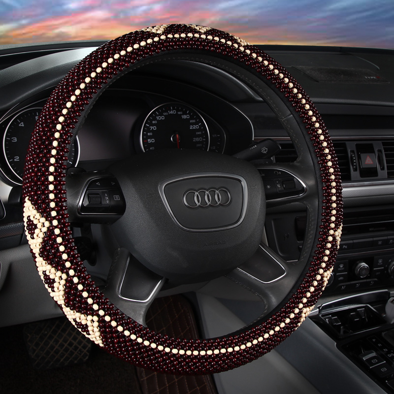Massage And Maintenance Wooden Beads Steering Wheel Cover Health Pure Hand Weaving Steering Wheel Cover