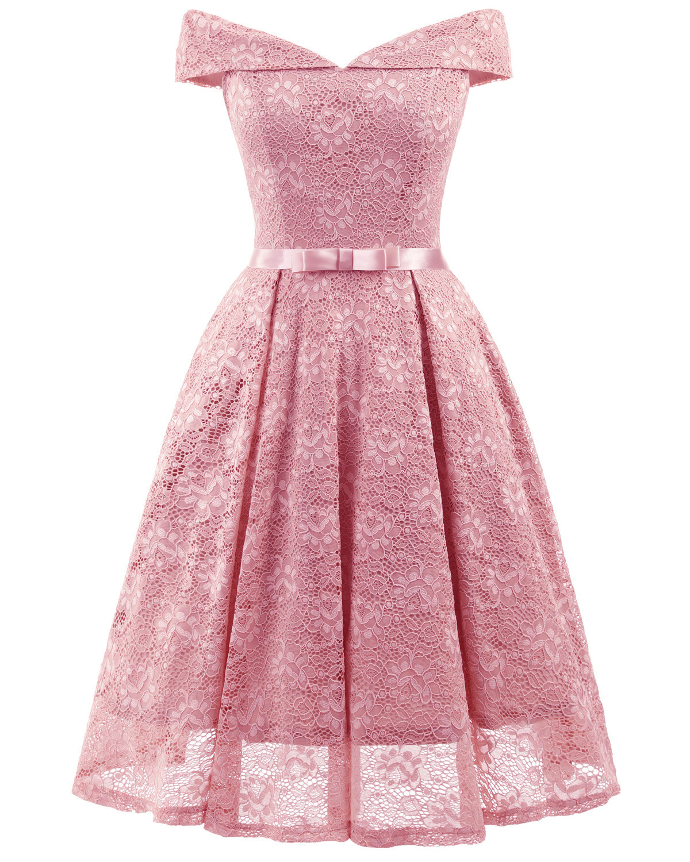Short   Bridesmaid     Dresses   2018 Elegant A Line Off The Shoulder Lace Party Special Occasion Gown Tea Length Wedding Guest   Dress