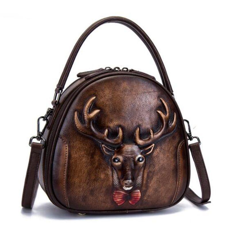 Genuine Leather Bag Retro Cowhide Women Handbags Vintage Manual Painting Crossbody Hobos Bags LL397