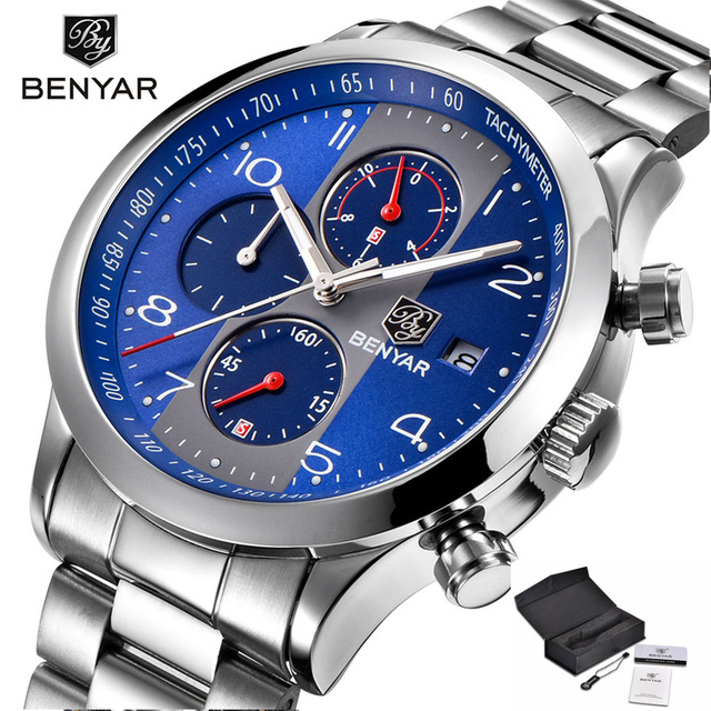 96ec6a6f726b BENYAR Watch Men Luxury Brand New Fashion Chronograph Quartz Waterproof  Stainless Steel Wristband Sport Business Watches for Men