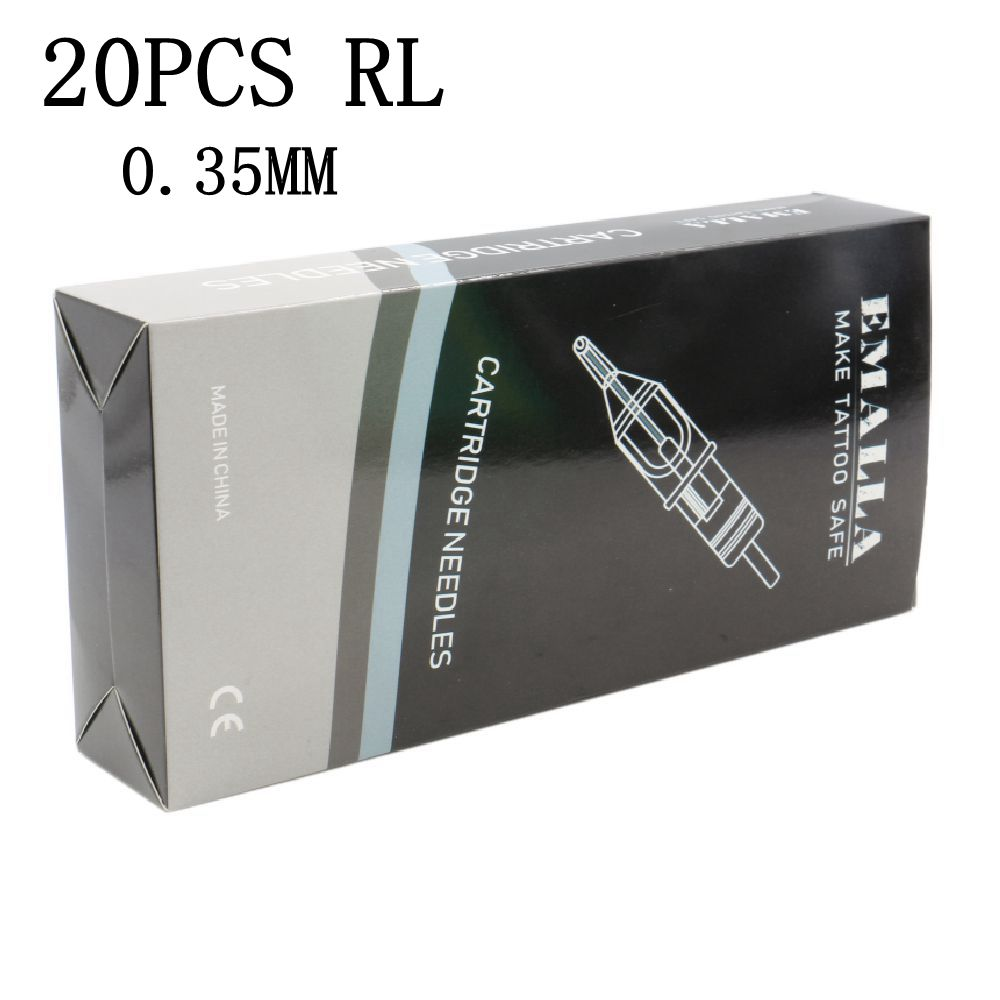 EMALLA 20pcs Tattoo Cartridge Needles 0.35MM With Membrane Round Liner Tattoo Needles For Tattoo Supplier Free ShippingEMALLA 20pcs Tattoo Cartridge Needles 0.35MM With Membrane Round Liner Tattoo Needles For Tattoo Supplier Free Shipping