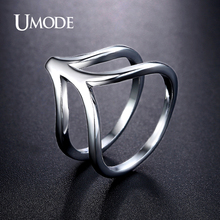 UMODE Brand Jewelry Fashion Rhodium plated Imitation Diamond Cocktail Ring For Women Bijouterie Aneis Bague Gifts AUR0370B