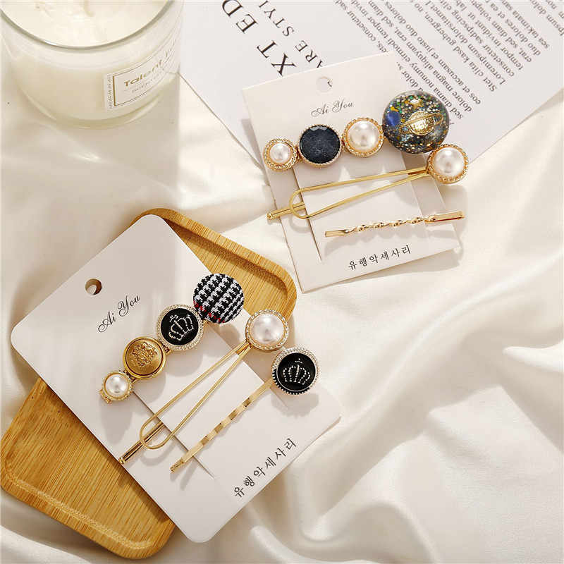 Modyle 2019 3PCS/set Korean Pearl Golden Barrette Girls Hair Clips Women Girls Hair Pins Bang Clip Hair Accessories
