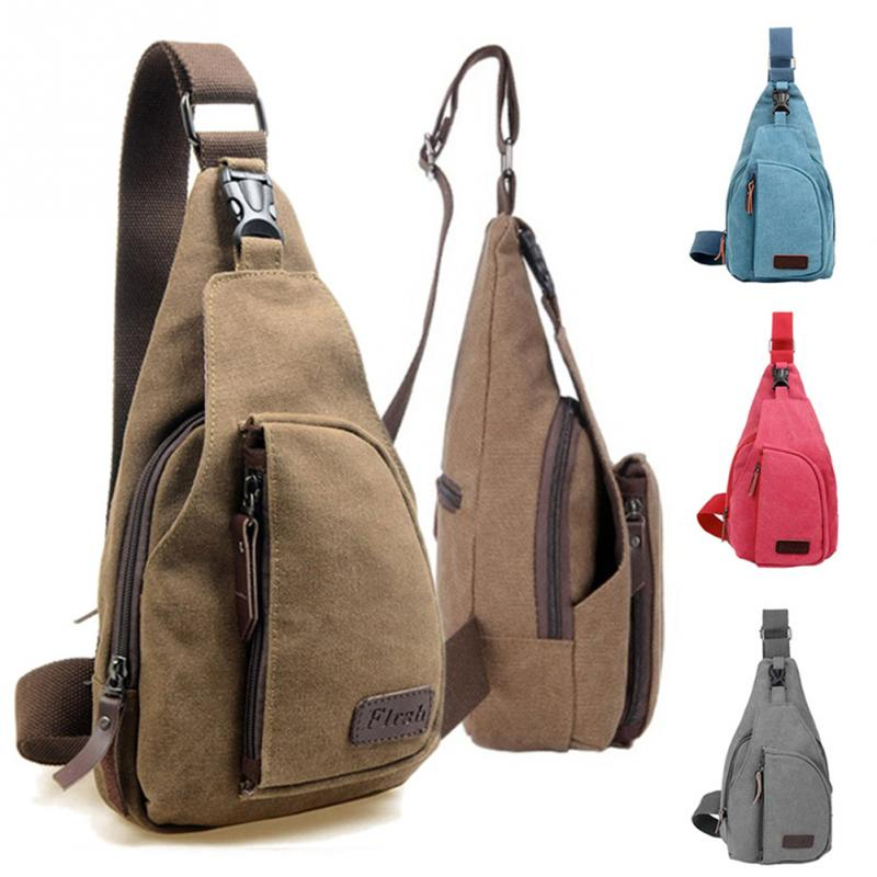 f49418db805c Outdoor Sports Small Running Bag Men Women Canvas Sling Messenger Chest Bag  Solid Backpack Shoulder Travel