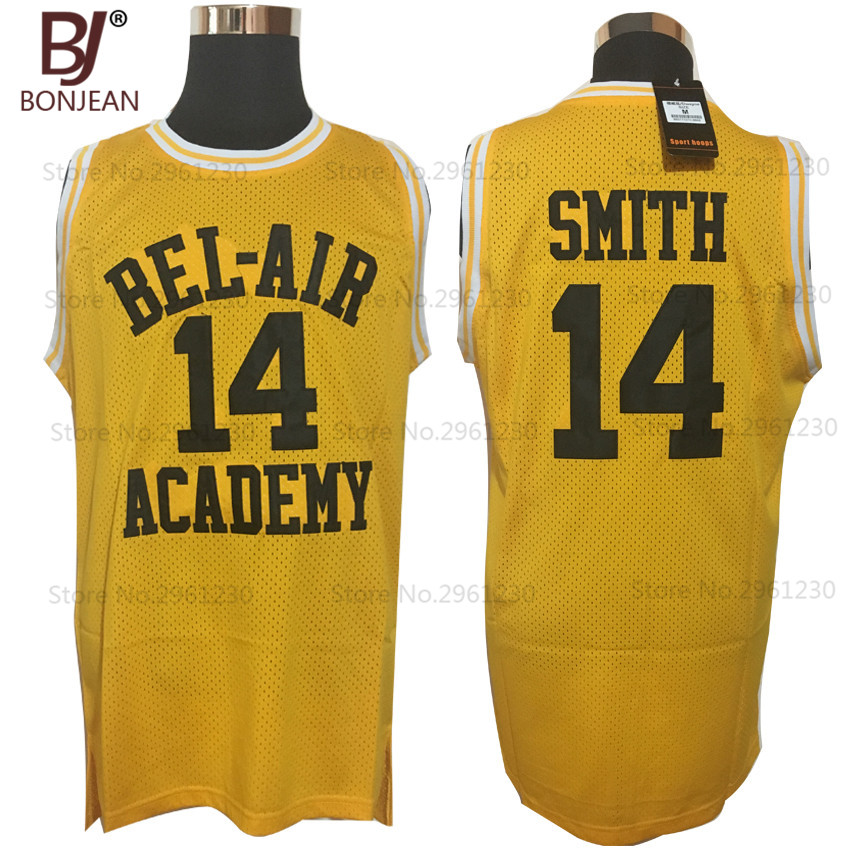 2017 BONJEAN Will Smith 14 Bel Air Academy throwback font b shirts b font Yellow Hip