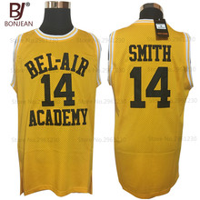 2017 BONJEAN Will Smith #14 Bel Air Academy throwback shirts Yellow Hip Hop Shirts Top Basketball Jerseys