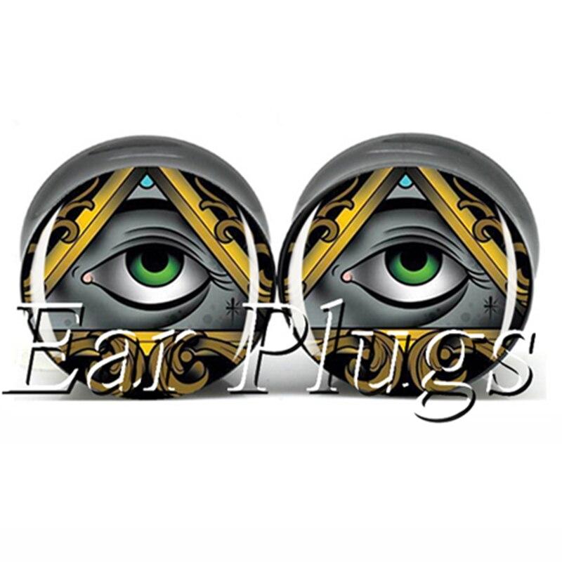60pcs/lot all see eye saddle ear plug gauges double flare flesh tunnel mix 10 sizes free shipping