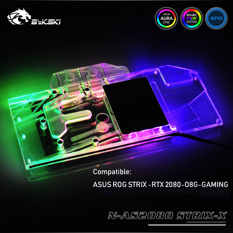 US $88 2 10% OFF|N AS2080 STRIX X, Bykski GPU cooler used for ASUS ROG  STRIX RTX 2080 O8G GAMING watercooling gpu block-in Fans & Cooling from