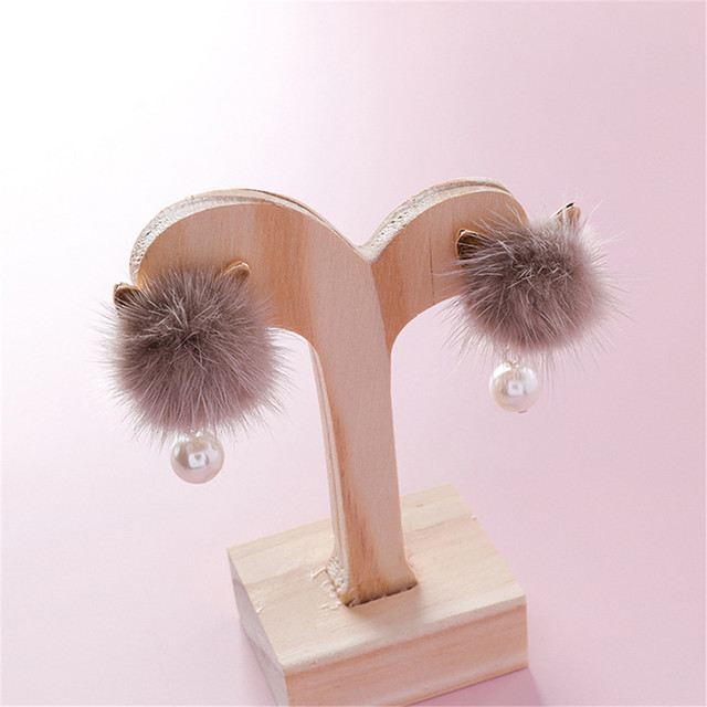 Fluffy Pompon Cat Ear Earrings 2