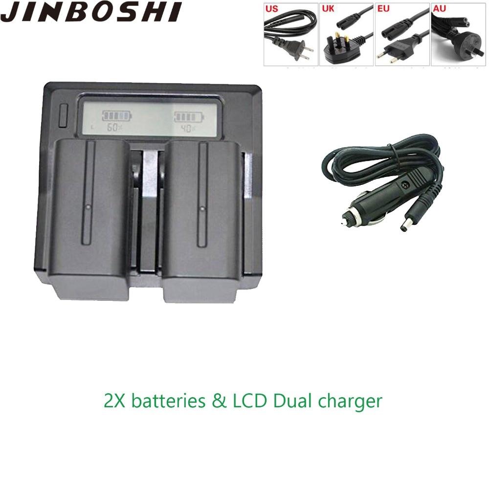 JINBOSHI 7900 mAh NPF970 NP F970 NP-F970 Batterie x2 + LCD Rapide Double Chargeur x1 pour Sony F930 F950 F770 F570 F975 F970 F960JINBOSHI 7900 mAh NPF970 NP F970 NP-F970 Batterie x2 + LCD Rapide Double Chargeur x1 pour Sony F930 F950 F770 F570 F975 F970 F960