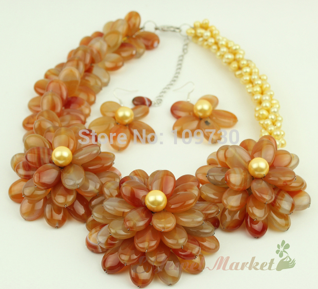 Hot Sale B29db Jewelry 00772 Red Agate Fw Pearl Flower Necklace