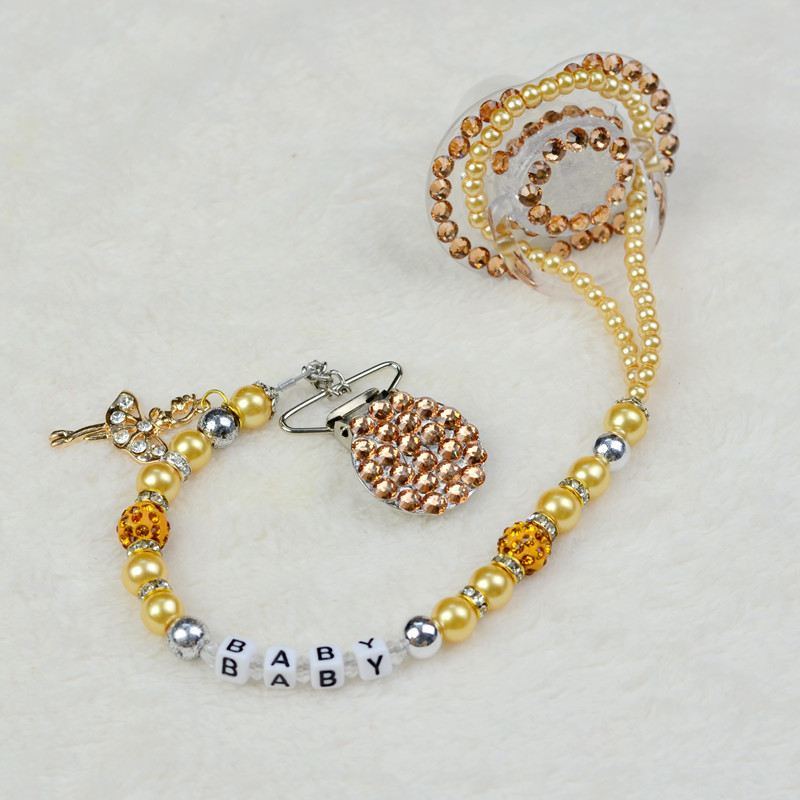 Personalised -Any name Bling golden luxurious rhinestone Pacifier/ Nipples /Dummy /cocka /chupeta &pacifier dummy clips holder